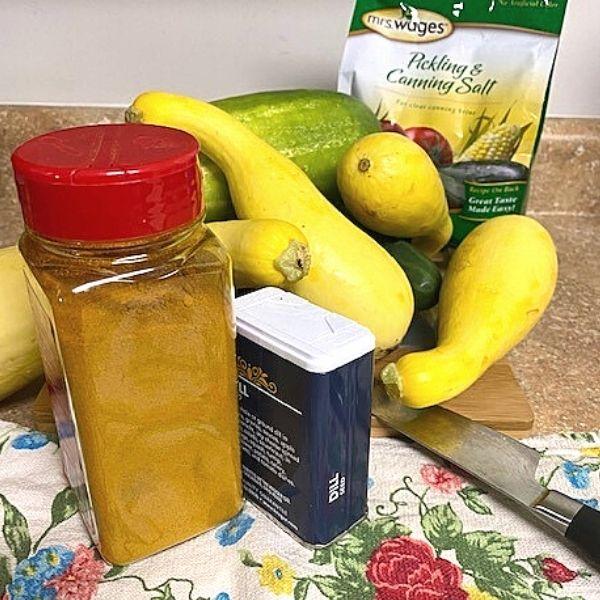 Dill Cucumber Squash Relish Ingredients